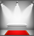 Illuminated Shelf With Red Carpet vector image vector image