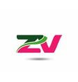 Alphabet Z and V letter logo vector image