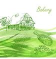 bakery set hand drawn farm house wheat grain vector image
