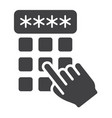 hand finger entering pin code solid icon unlock vector image