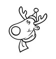 reindeer head in santa hat outline on white vector image