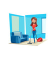 room cleaning woman in house poster vector image