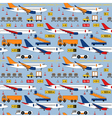 seamless pattern with airplanes and airport vector image vector image