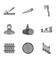 Sawmil and timber set icons in monochrome style vector image