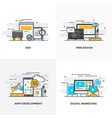 flat line designed concepts-colored vector image