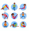 yoga kids poses set vector image