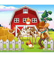 An old armed cowboy at the farm with a red vector image vector image