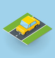 car on road in isometric projection vector image
