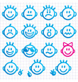 Set of faces with various emot vector image