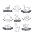 Hand drawn food and drinks labels templates for vector image