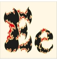 Fiery font Letter E on white vector image