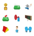 Ball game icons set cartoon style vector image