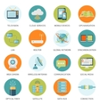 Telecommunication Icons In Colored Circles vector image