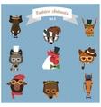 Fashion Hipster Animals set 3 vector image