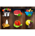 Food concepts icons on wooden board vector image