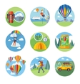 Hike Expedition Tourism Parachuting Ballooning vector image