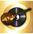 jazz guitar and a vinyl disc on a background of vector image