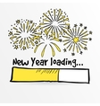 Loading bar with fireworks new year anniversary vector image