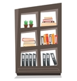 Office shelves with folders vector image