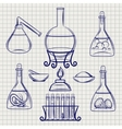 Sketch of science lab equipment vector image