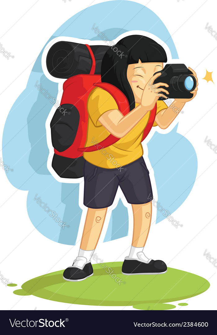 Backpacker girl taking photo vector