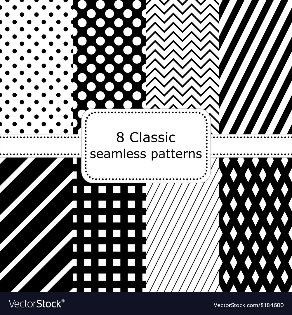 Set of 8 classic black  white seamless patterns vector