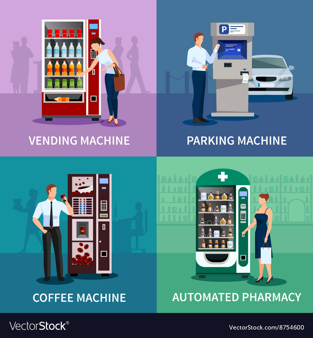 Vending machines concept icons set vector
