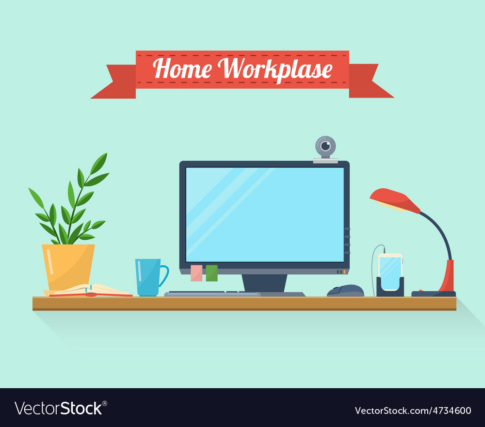 Workspace for freelancer and home work vector