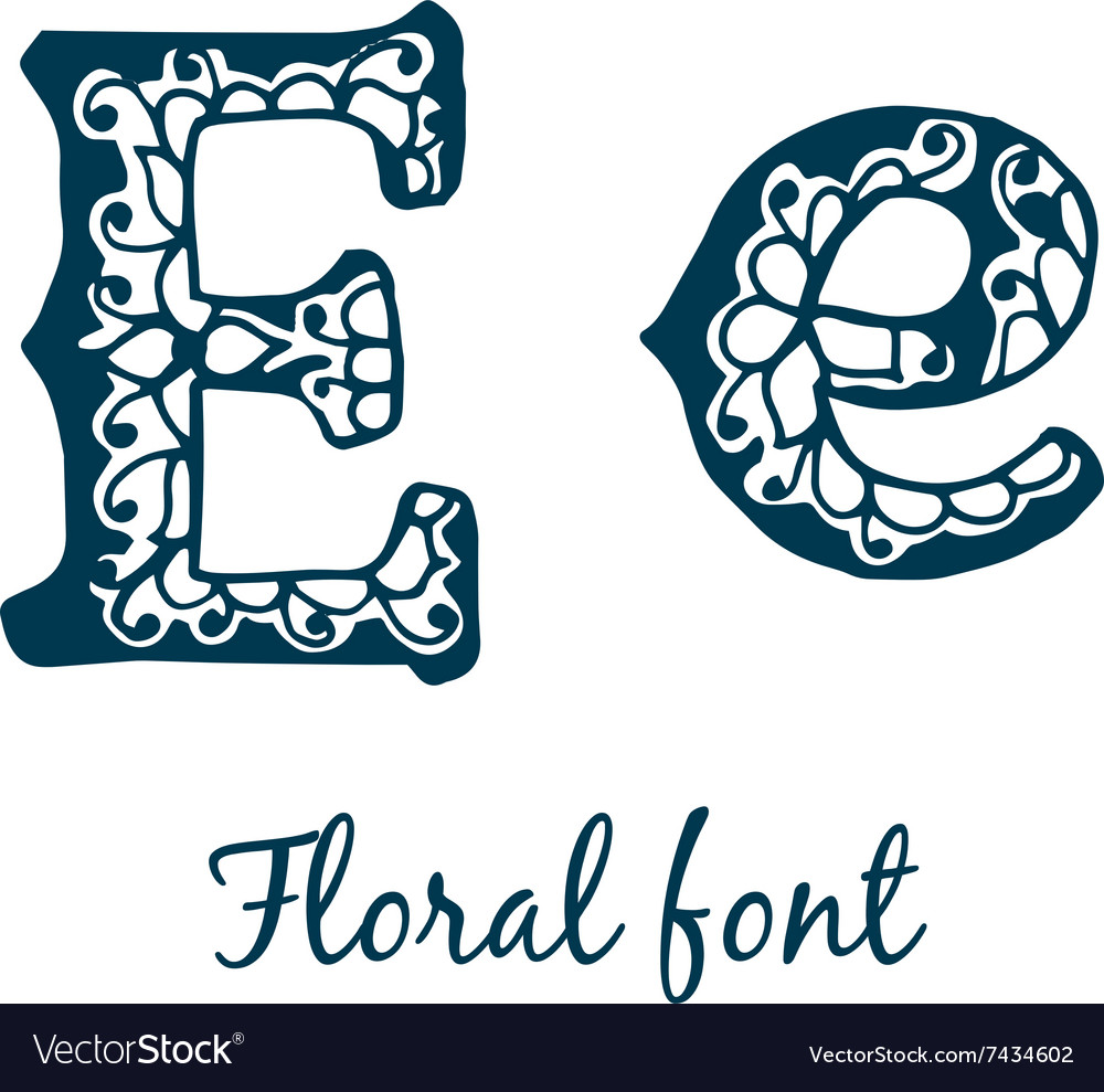 Isolated stylized calligraphic floral alphabet vector