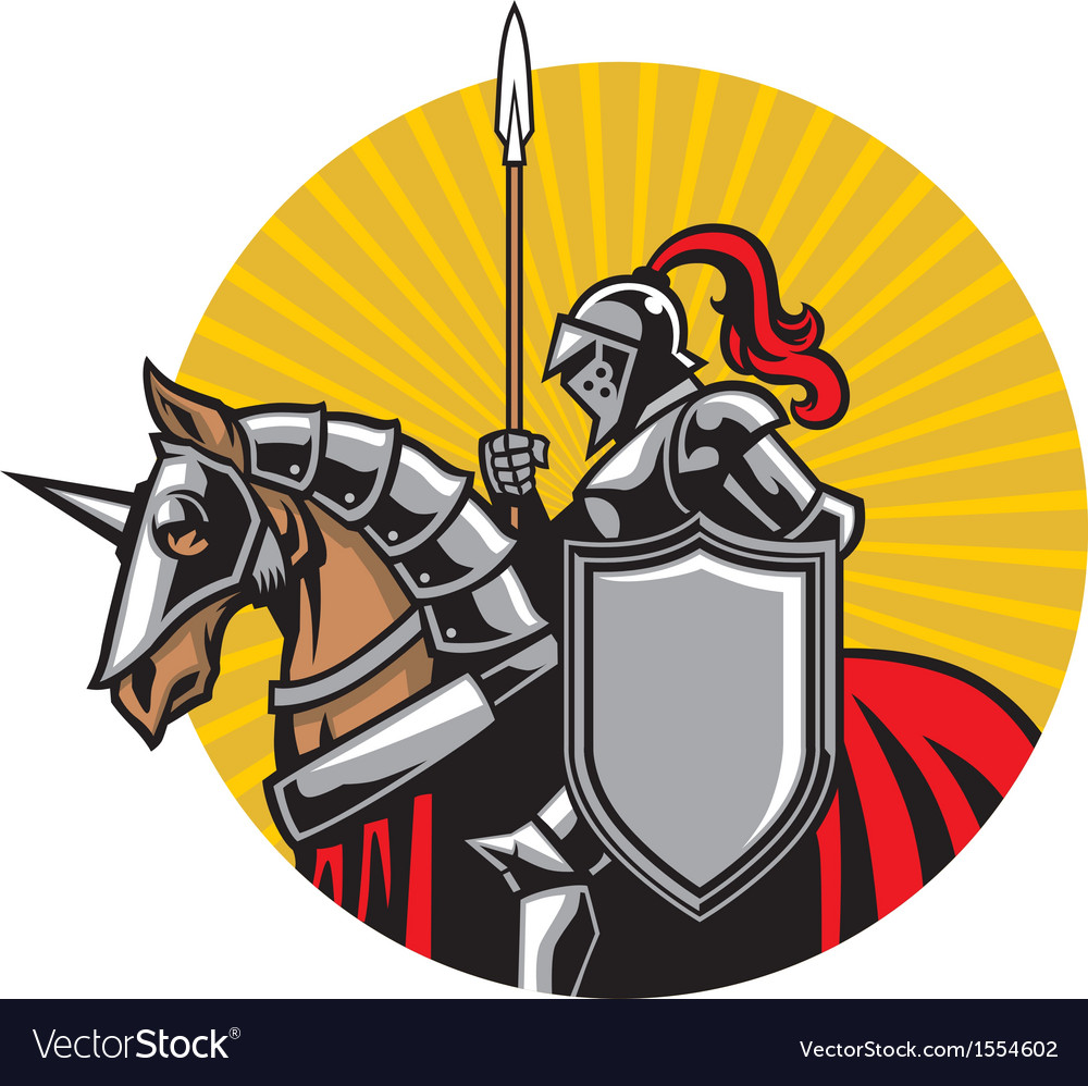Medieval knight ride a horse vector