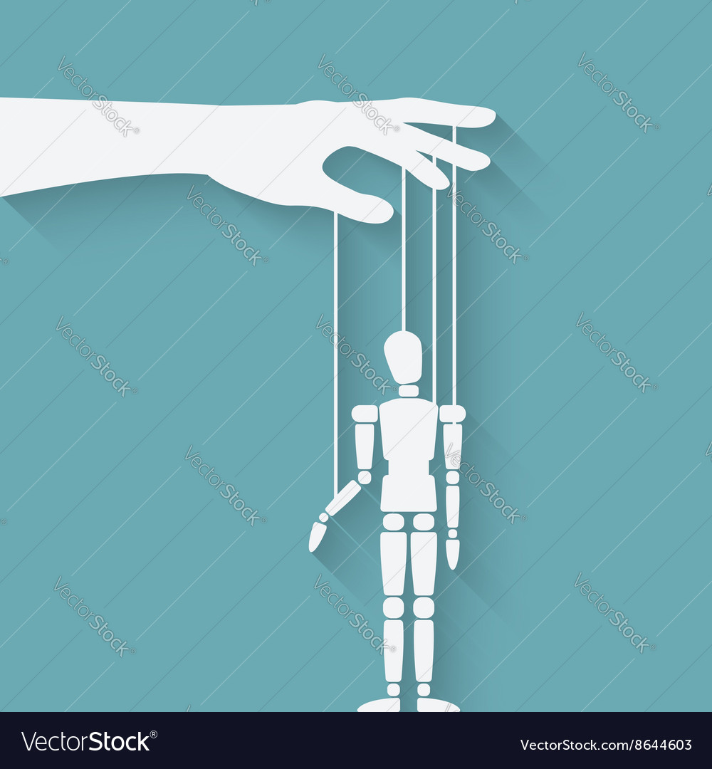 Hand with puppet vector