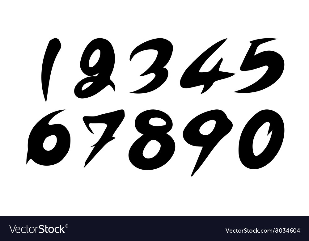 Numbers 09 written with a brush vector