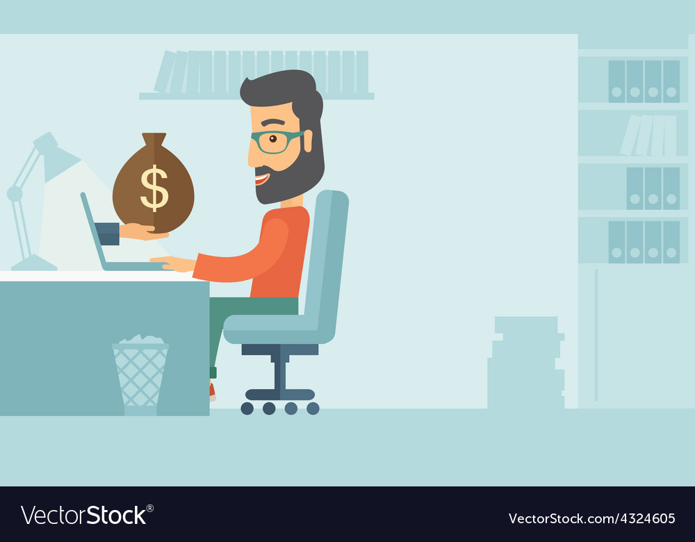 Businessman and laptop vector