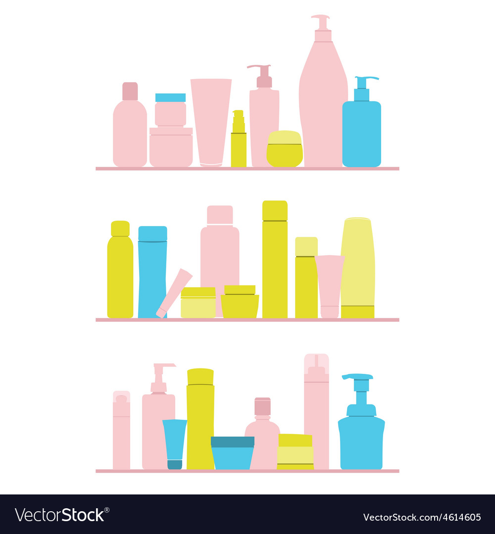 Set of cosmetic bottles on shelf vector
