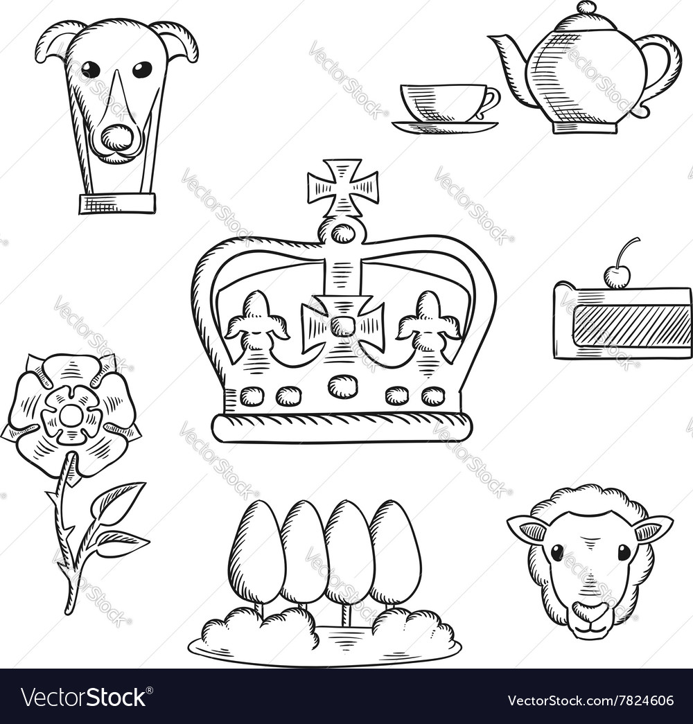 England traditional objects and symbols vector