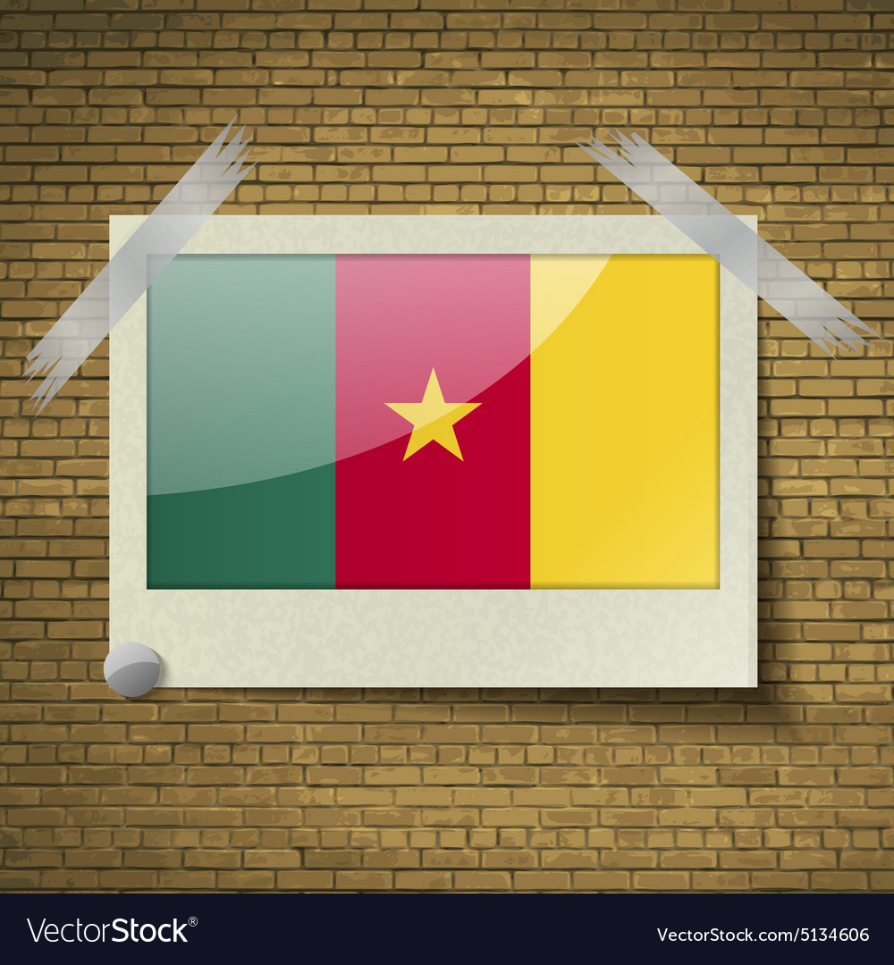 Flags cameroon at frame on a brick background vector