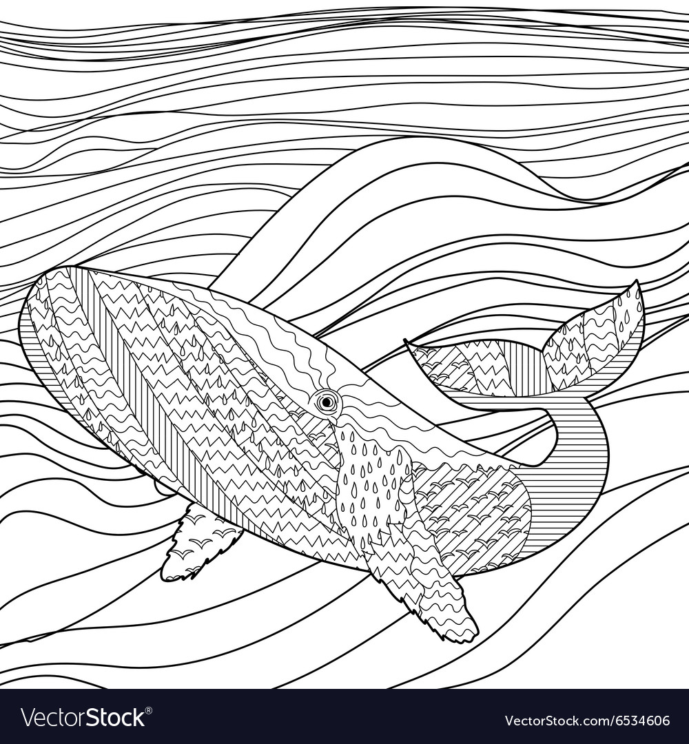 Whale in the waves for anti stress coloring page vector
