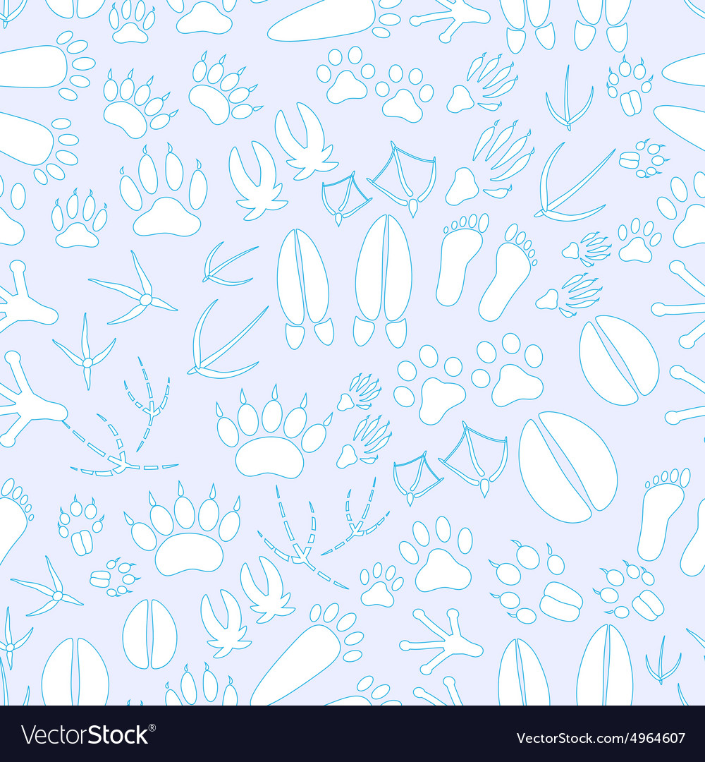 Animal footprints blue and white seamless pattern vector