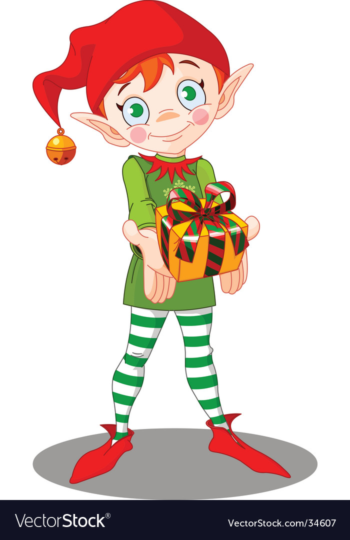 Christmas elf gift vector
