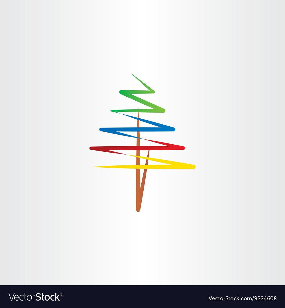 Colorful tree clipart icon vector