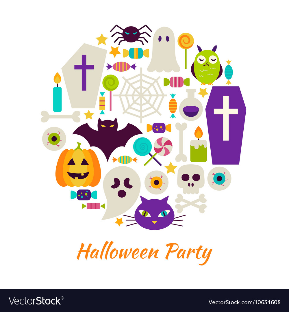 Halloween party objects over white vector