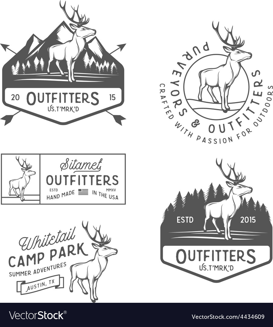 Set of vintage outdoors labels and design elements vector