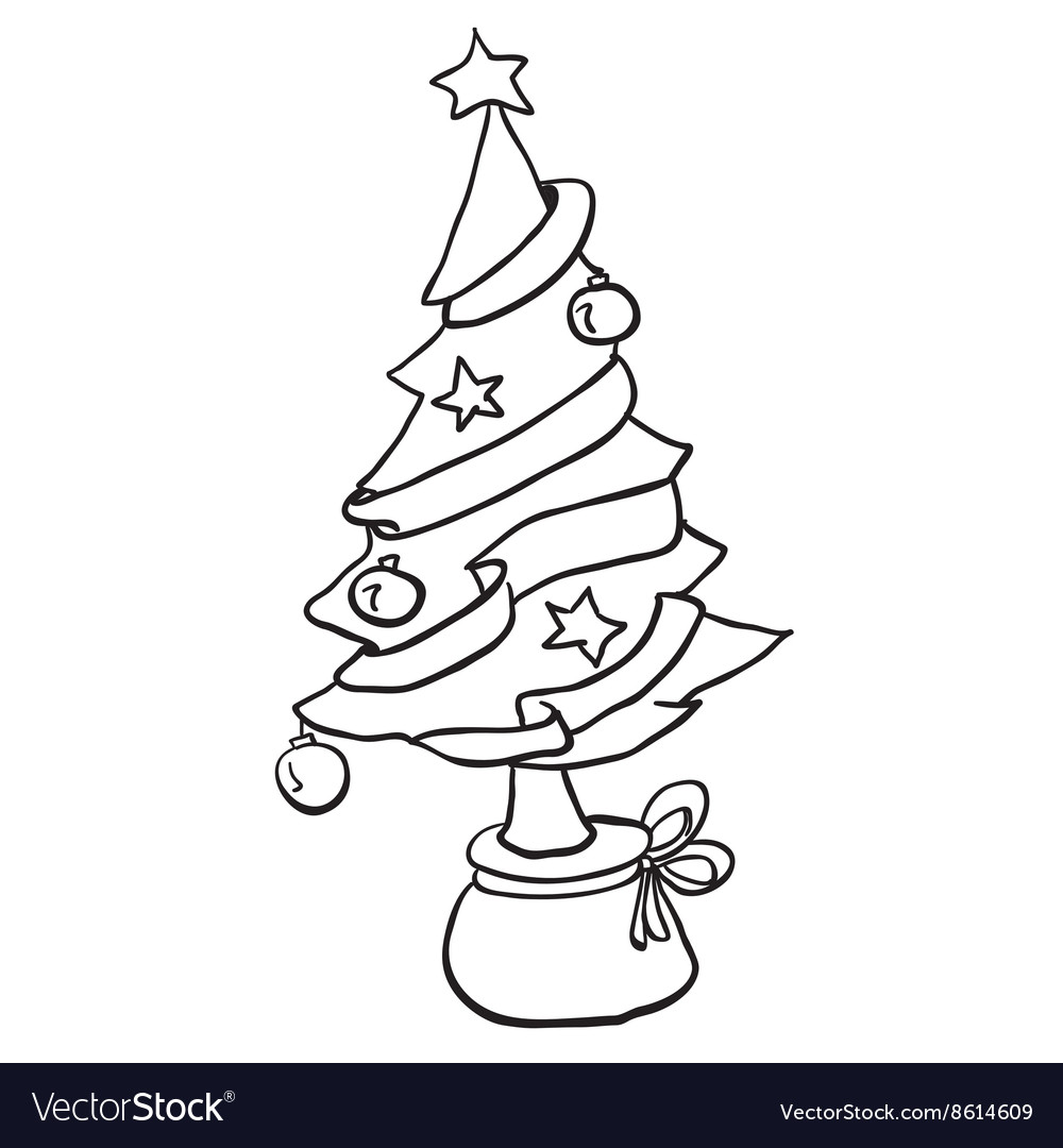 Simple black and white christmas tree vector