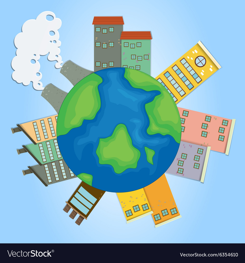 Earth with buildings and factories vector