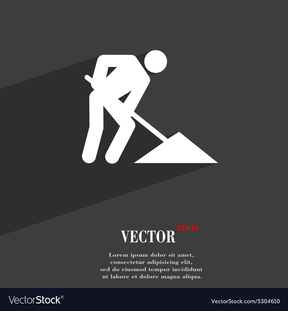 Repair of road construction work icon symbol flat vector