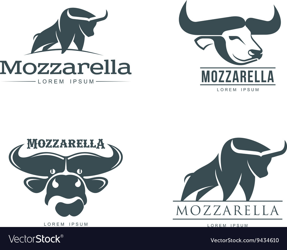 Set of logos with buffalo mozzarella cheese vector