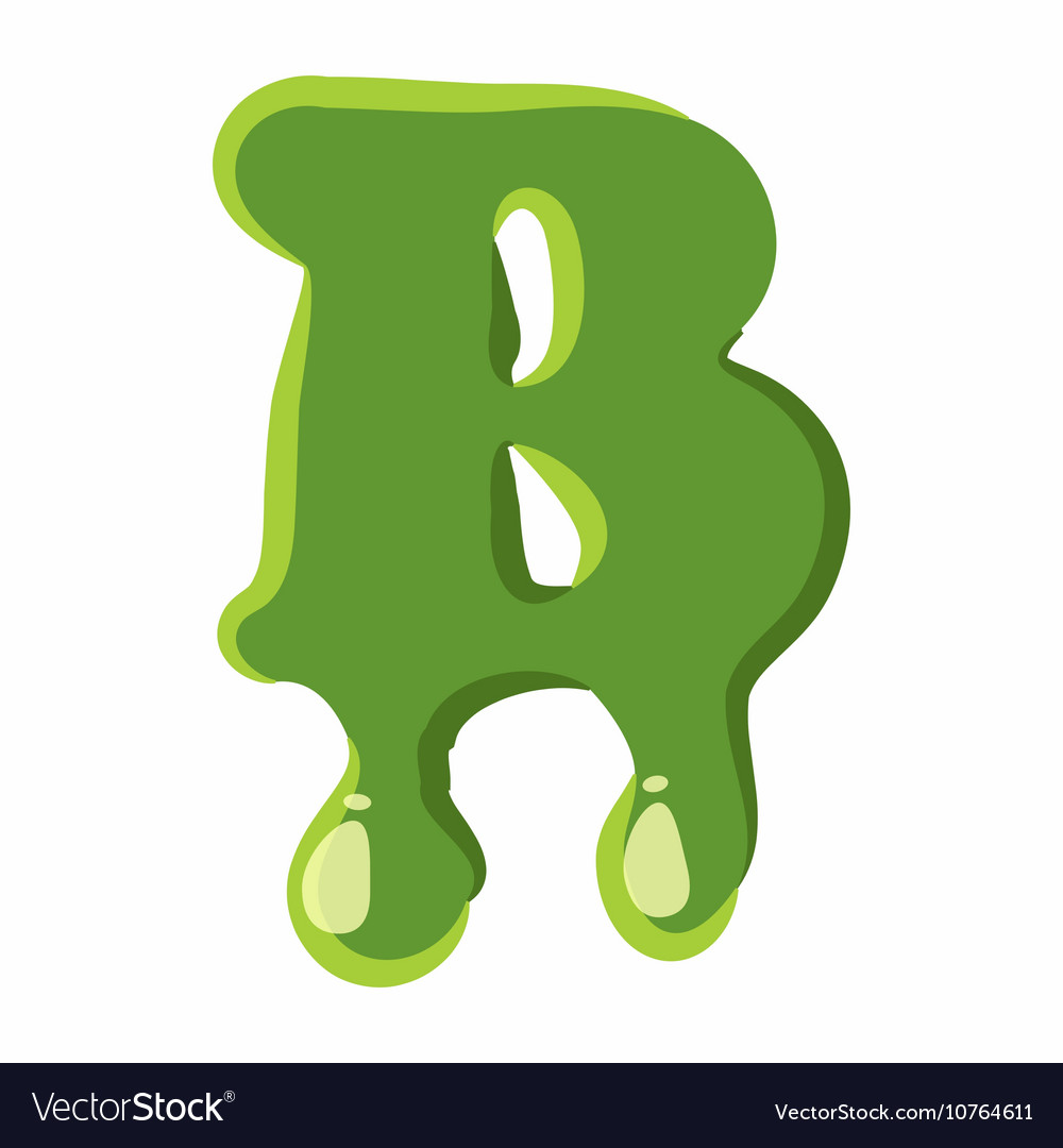 Letter b made of green slime vector