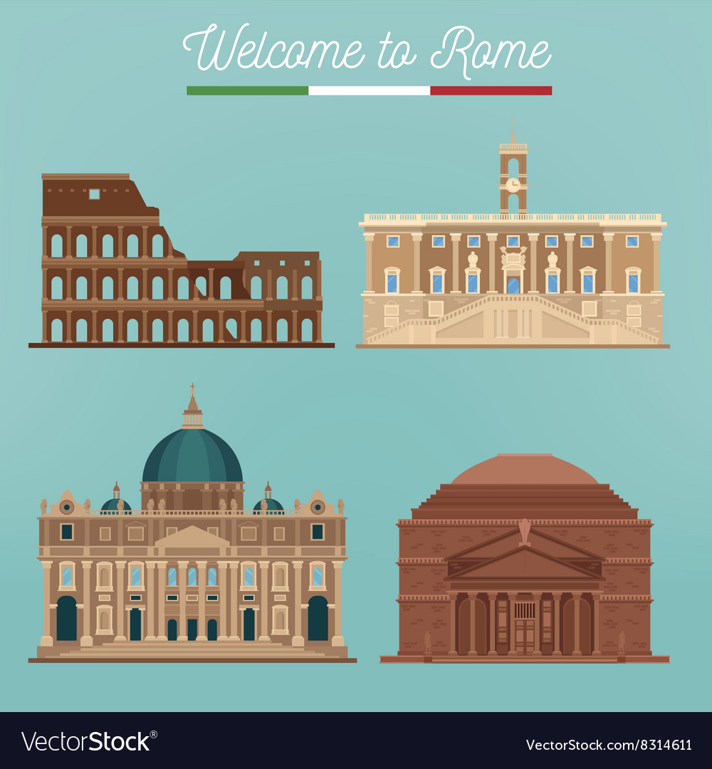 Rome architecture tourism italy buildings vector