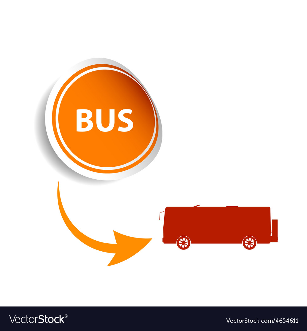 Sticker bus orange vector