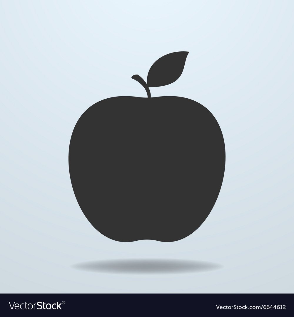 Apple with leave icon vector